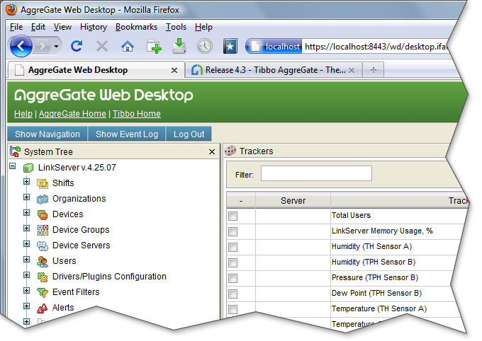 AggreGate 4.3. New Web Desktop user interface